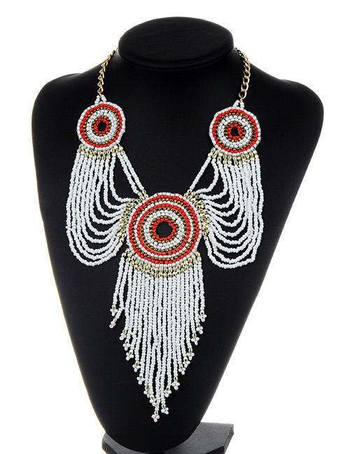 Fashion White Beads Decorated Long Tassel Design Necklace