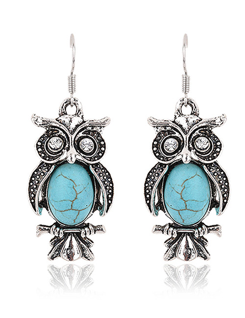 Fashion Blue Oval Gemstone Decorated Owl Shape Earrings
