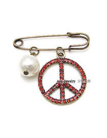 Uniform Red Peace Sign Alloy Korean Brooches
