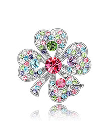 Sparking Multicolour Brooch Alloy Crystal Brooches