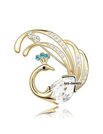 Trendy White Brooch Alloy Crystal Brooches
