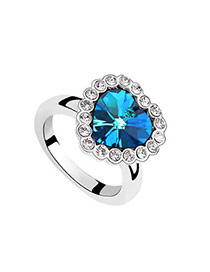 Rubber Blue Rings Alloy Crystal Rings