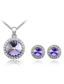 Personaliz Purple Set-Round Alloy Crystal Sets