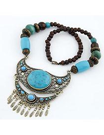 Slacks Blue Crescent Shape Design Resin Bib Necklaces