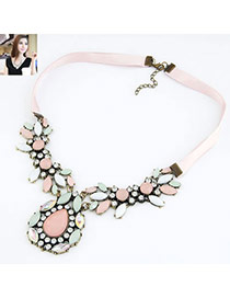 Digital Multi Colour Flower Design Alloy Bib Necklaces