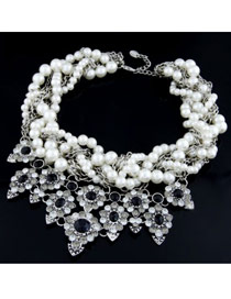 Little White Multilayer Gemstone Decorated Design