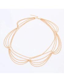 Dash Gold Color Multilayer Chain Simple Design