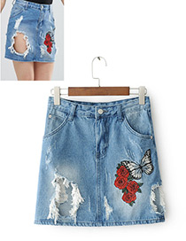 Fashion Blue Butterfly&rose Decorated Simple Skirt