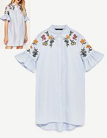 Fashion Blue Flare Sleeves Design Simple Shirt