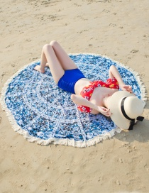 Tapete Para Playa Estampado De Flores De Moda