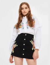 Mini Falda Bordada De Flores De Moda