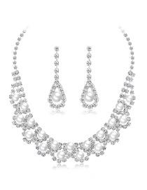 Conjunto De Collar De Perlas De Cobre Y Diamantes.