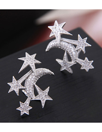 925 Silver Needle Copper Micro-incrustaciones Zircon Star Moon Stud Pendientes
