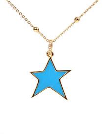Collar De Pentagrama De Gota De Diamantes Con Microconjunto