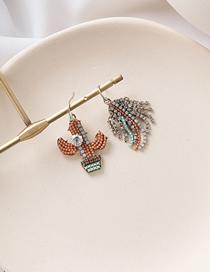 Fashion Orange Rhinestone Cactus Leaves Flowers Asymmetrical Earrings