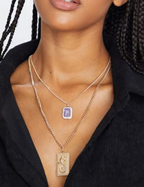 Collar Doble Diamante Cuadrado