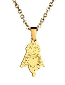Collar Tridimensional De Acero Inoxidable Love Cupid Little Angel