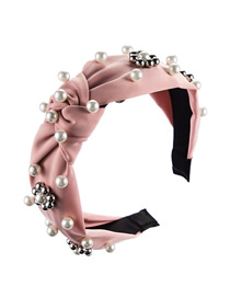 Fashion Pink Pearl Flower Bead Knotted Wide Edge Hoop