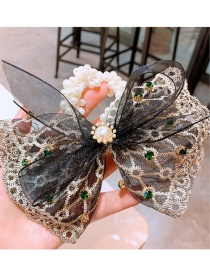 Fashion Black Pearl Lace Hairline With Big Lace Bow