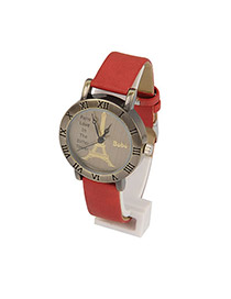 Square Red Eiffel Tower PU Ladies Watches