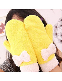 Double Yellow Warmth Bowknot Design