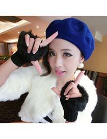 American Black Fingerless Warmer Plaid Knit With Fur Knitting Wool Fingerless Gloves