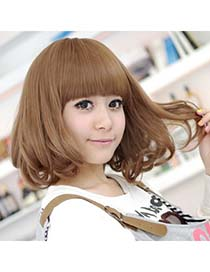 Classic Light Brown Middle Curly Design High-Temp Fiber Wigs