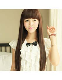 Hurley Dark Brown Full Bangs In Long Straight High-Temp Fiber Wigs