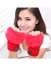 Brown Bright Red Half Fingerless Design Knitting Wool Fashion Gloves
