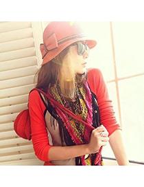 Wedding Reddish Orange Bowknot Decorated Charming Design Straw Sun Hats