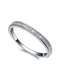Masonic white round shape simple design zircon Crystal Rings