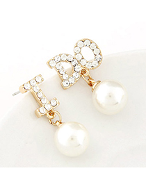 Baltic white pearl decorated letter I DO shape design alloy Stud Earrings
