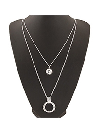 Concealed Silver Color Round Pendant Decorated Double Layer Design