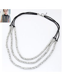 Handmade Silver Color Metal Weave Multilayer Design Alloy Multi Strand Necklaces