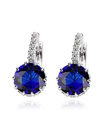 Cranes Sapphire Blue Diamond Decorated Simple Design Alloy Crystal Earrings