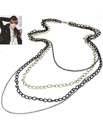 mashup Black Chain Decorated Multilayer Design Alloy Chains