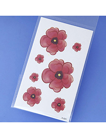 Lucky Claret-red Flower Pattern Simple Design Tape Tattoos Body Art