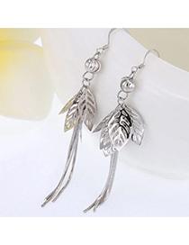 Vivid Silver Color Leaf Shape Decorated Tassel Design Cuprum Fashion Earrings