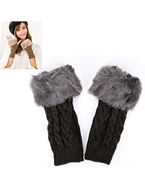 Fishing Dark Gray Imitation Cashmere Decorated Fingerless Design Cashmere Fingerless Gloves
