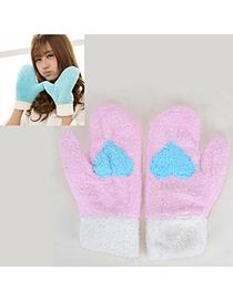 Emerald Pink Heart Pattern Fingerless Simple Design Wool Full Finger Gloves