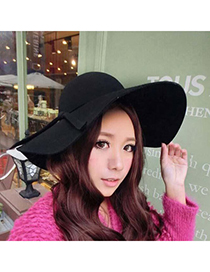 Specialty Black Pure Color Tie Simple Design Woolen Beanies Others
