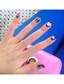 Mustard Black Heart Pattern Simple Design Stickers Nails