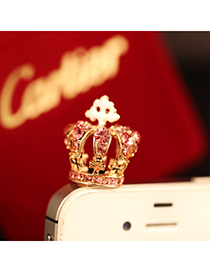 personalized Pink Diamond Decorated Crown Shape Design