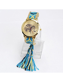 lovely Blue & Yellow Elephant Pattern Decorated Tasel Design