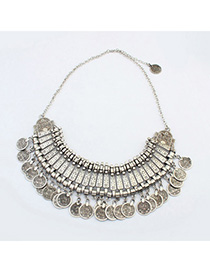 Layered Antique Silver Coins Decorated Tassel Design