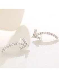 Delicate Silver Color Diamond Decorated Arrow Shape Design  Cuprum Fashion earrings