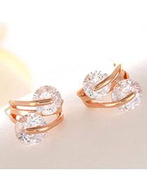Sweet Rose Gold Diamond Decorated Flower Design  Cuprum Fashion earrings
