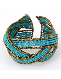 Bohemia Blue Beads Decorated Weave Design Alloy Fashion Bangles