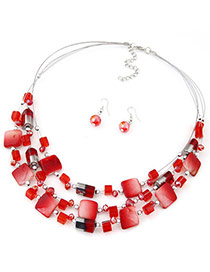 Bohemia Red Gemstone Decorated Square Shape Multilayer Design  Alloy Jewelry Sets