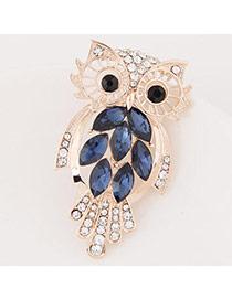 Exquisite Blue Diamond Decorated Owl Shape Design  Alloy Korean Brooches